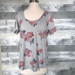 Lucky Brand Floral T-Shirt Top Gray Pink Large